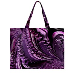 Purple Fractal Flowing Fantasy Zipper Mini Tote Bag