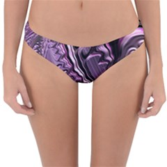 Purple Fractal Flowing Fantasy Reversible Hipster Bikini Bottoms by Pakrebo
