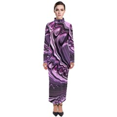 Purple Fractal Flowing Fantasy Turtleneck Maxi Dress