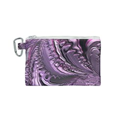 Purple Fractal Flowing Fantasy Canvas Cosmetic Bag (small)
