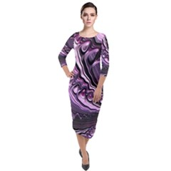 Purple Fractal Flowing Fantasy Quarter Sleeve Midi Velour Bodycon Dress