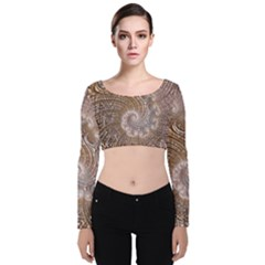 Fractal Art Pattern 3d Artwork Velvet Long Sleeve Crop Top