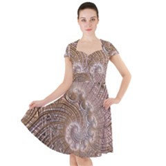Fractal Art Pattern 3d Artwork Cap Sleeve Midi Dress