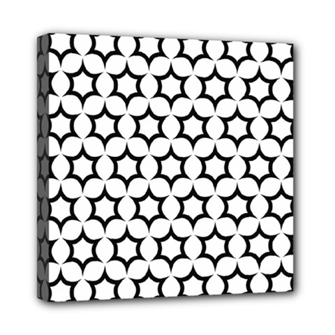Pattern Star Repeating Black White Mini Canvas 8  X 8  (stretched) by Pakrebo