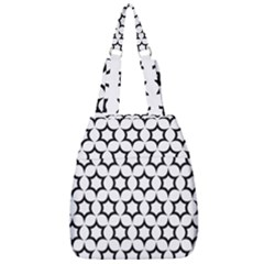 Pattern Star Repeating Black White Center Zip Backpack