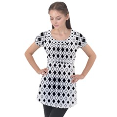 Square Diagonal Pattern Monochrome Puff Sleeve Tunic Top