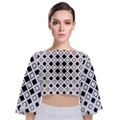 Square Diagonal Pattern Monochrome Tie Back Butterfly Sleeve Chiffon Top
