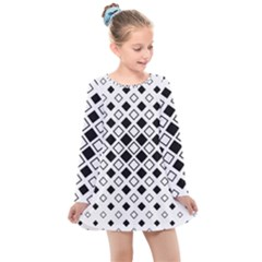 Square Diagonal Pattern Monochrome Kids  Long Sleeve Dress by Pakrebo