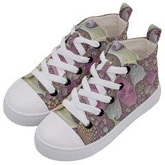 Pastels Cream Abstract Fractal Kids  Mid Top Canvas Sneakers by Pakrebo