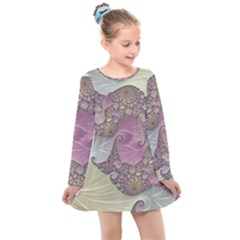 Pastels Cream Abstract Fractal Kids  Long Sleeve Dress by Pakrebo