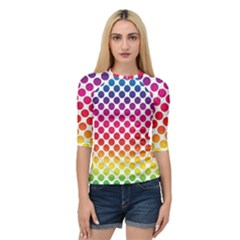 Polka Dots Spectrum Colours Dots Quarter Sleeve Raglan Tee by Pakrebo