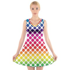 Polka Dots Spectrum Colours Dots V Neck Sleeveless Dress