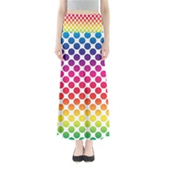 Polka Dots Spectrum Colours Dots Full Length Maxi Skirt by Pakrebo