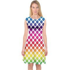 Polka Dots Spectrum Colours Dots Capsleeve Midi Dress by Pakrebo