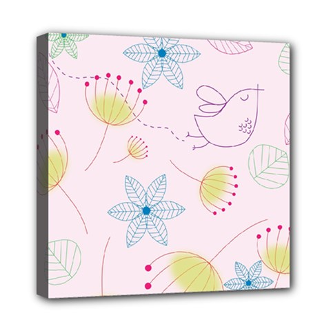 Floral Background Bird Drawing Mini Canvas 8  X 8  (stretched)