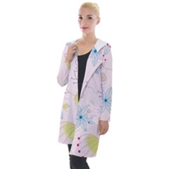 Floral Background Bird Drawing Hooded Pocket Cardigan