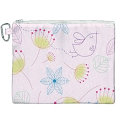 Floral Background Bird Drawing Canvas Cosmetic Bag (xxxl)
