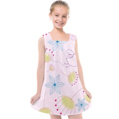 Floral Background Bird Drawing Kids  Cross Back Dress