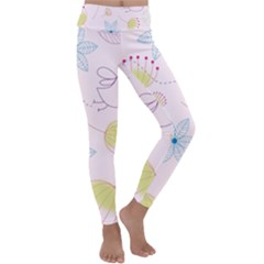 Floral Background Bird Drawing Kids  Lightweight Velour Classic Yoga Leggings by Pakrebo