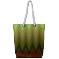Zig Zag Chevron Classic Pattern Full Print Rope Handle Tote (small)