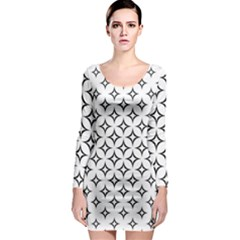 Star Curved Pattern Monochrome Long Sleeve Bodycon Dress