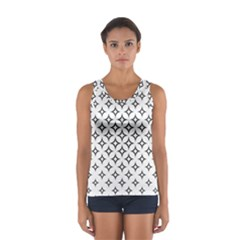 Star Curved Pattern Monochrome Sport Tank Top