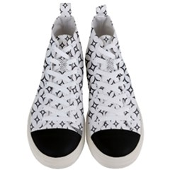 Star Curved Pattern Monochrome Men s Mid Top Canvas Sneakers