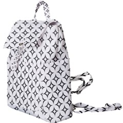 Star Curved Pattern Monochrome Buckle Everyday Backpack by Pakrebo
