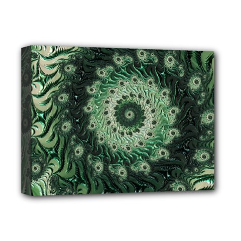 Fractal Art Spiral Mathematical Deluxe Canvas 16  X 12  (stretched)  by Pakrebo