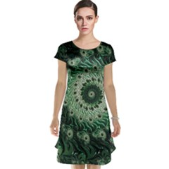 Fractal Art Spiral Mathematical Cap Sleeve Nightdress