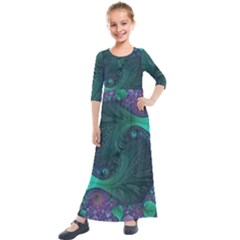 Ocean Green Sea Blue Fractal Art Kids  Quarter Sleeve Maxi Dress by Pakrebo