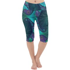 Ocean Green Sea Blue Fractal Art Lightweight Velour Cropped Yoga Leggings