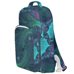 Ocean Green Sea Blue Fractal Art Double Compartment Backpack