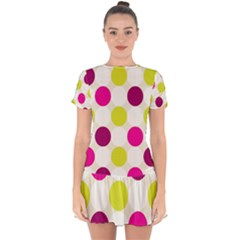 Polka Dots Spots Pattern Seamless Drop Hem Mini Chiffon Dress by Pakrebo