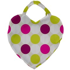 Polka Dots Spots Pattern Seamless Giant Heart Shaped Tote