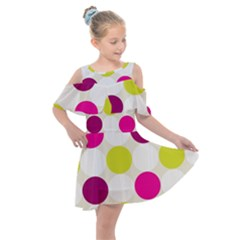 Polka Dots Spots Pattern Seamless Kids  Shoulder Cutout Chiffon Dress by Pakrebo