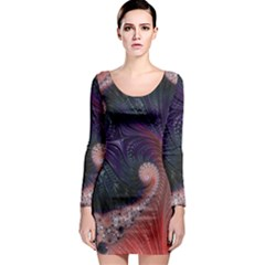 Fractal Art Artwork Design Long Sleeve Bodycon Dress