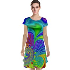Fractal Neon Art Artwork Fantasy Cap Sleeve Nightdress