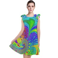 Fractal Neon Art Artwork Fantasy Tie Up Tunic Dress by Pakrebo