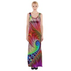 Fractal Art Fractal Colorful Maxi Thigh Split Dress