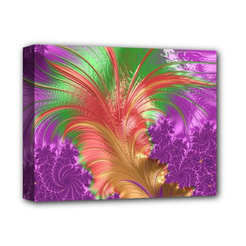 Fractal Purple Green Orange Yellow Deluxe Canvas 14  X 11  (stretched)