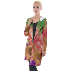 Fractal Purple Green Orange Yellow Hooded Pocket Cardigan by Pakrebo