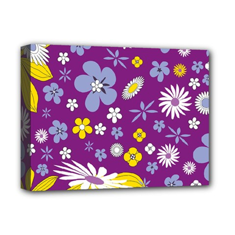 Floral Flowers Wallpaper Paper Deluxe Canvas 16  X 12  (stretched)  by Pakrebo