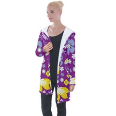 Floral Flowers Wallpaper Paper Longline Hooded Cardigan by Pakrebo