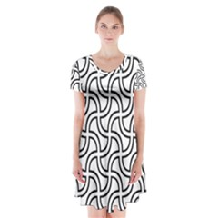 Pattern Monochrome Repeat Short Sleeve V-neck Flare Dress by Pakrebo