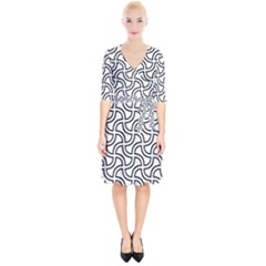 Pattern Monochrome Repeat Wrap Up Cocktail Dress by Pakrebo