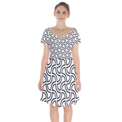 Pattern Monochrome Repeat Short Sleeve Bardot Dress by Pakrebo