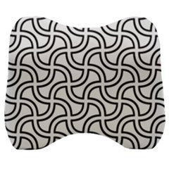 Pattern Monochrome Repeat Velour Head Support Cushion by Pakrebo
