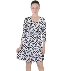 Pattern Monochrome Repeat Ruffle Dress by Pakrebo