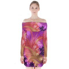 Fractal Puffy Feather Art Artwork Long Sleeve Off Shoulder Dress